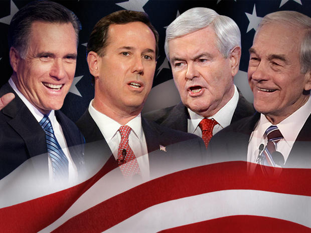Newt Gingrich,  Ron Paul, Mitt Romney, Rick Santorum