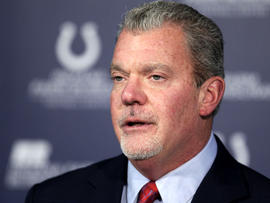Indianapolis Colts owner Jim Irsay speaks during a news conference at the NFL football team's headquarters Jan. 17, 2012, in Indianapolis.