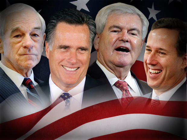Newt Gingrich, Mitt Romney, Ron Paul and Rick Santorum