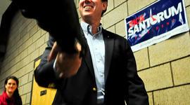 Former Pennsylvania Sen. Rick Santorum arrives at a campaign rally Feb. 7, 2012, in Blaine, Minn.