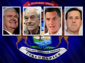 Newt Gingrich,  Ron Paul, Mitt Romney, Rick Santorum