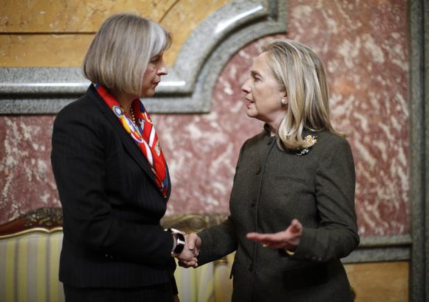 Hillary Clinton meets with British Home Secretary Theresa May at the London Conference on Somalia