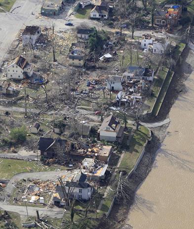 Aerial views of tornado damage
