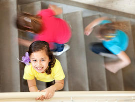 kids on stairs, falling stairs, stair injuries, stock, 4x3