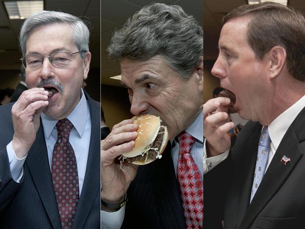 Iowa Gov. Terry Branstad, Texas Gov. Rick Perry, and Nebraska Lt. Gov. Rick Sheehy eat pink slime hamburgers