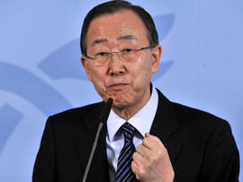 U.N. Secretary-General Ban Ki-moon speaks during a press conference April 17, 2012, in Luxembourg.