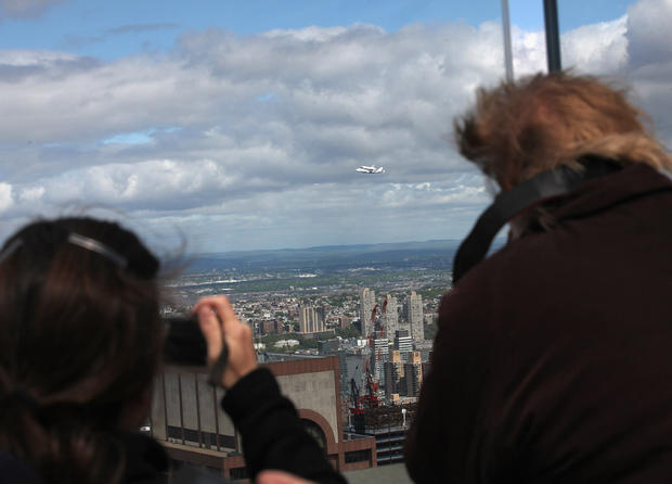 Space shuttle Enterprise flies over NYC