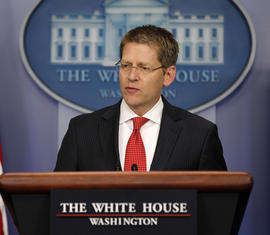 White House Press Secretary Jay Carney speaks during his daily news briefing at the White House in Washington, Thursday, May, 3, 2012.