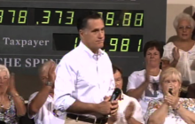 Romney says disappointed in Obama for doubling debt