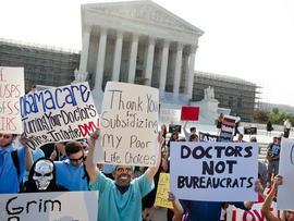 Health care activists swarm SCOTUS steps