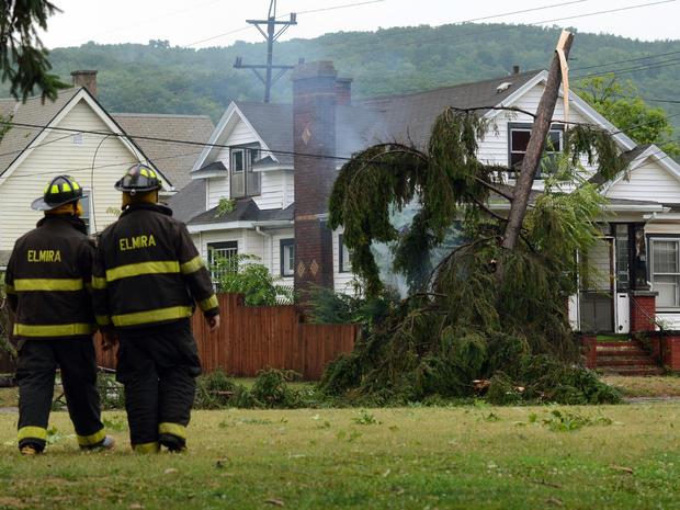 Suspected tornado damage in Elmira, NY