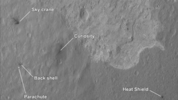 The Mars Reconnaissance Orbiter spots the landing sight of Curiosity.