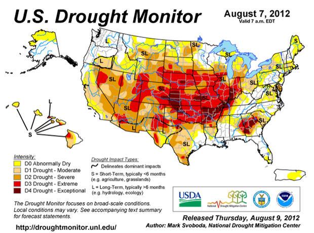 美国干旱监测机构是政府机构和内布拉斯加大学林肯分校的合作伙伴,它使用多个指数来追踪和预测干旱。上面的地图于2012年8月9日星期四发布。
