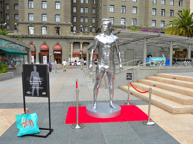 David Beckham underwear statues appear in NY and CA
