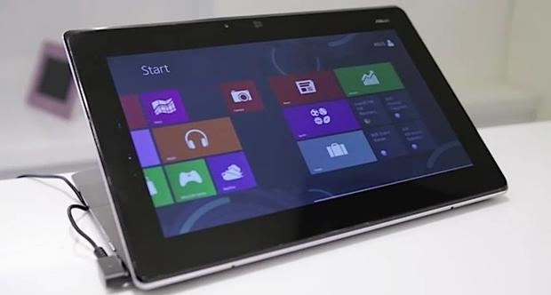 An Asus Taichi ultrabook in tablet mode. Will consumers flock to Windows 8 and ultrabooks?