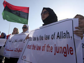 Libyan women protest against Ansar al-Shariah Brigades and other Islamic militias in front of the Tebesty Hotel in Benghazi, Libya, Sept. 21, 2012.