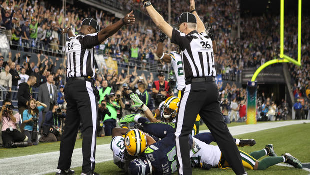 Wide receiver Golden Tate of the Seattle Seahawks makes a catch in the end zone to defeat the Green Bay Packers on a controversial call by the officials at CenturyLink Field on September 24, 2012, in Seattle.