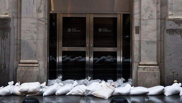 Sand bags barricade the New York Stock Exchange on Oct. 29, 2012, during the arrival of Hurricane Sandy.
