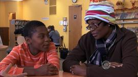 Kareem Jarrett-Lewis and her son, Amani, found refuge at a library.