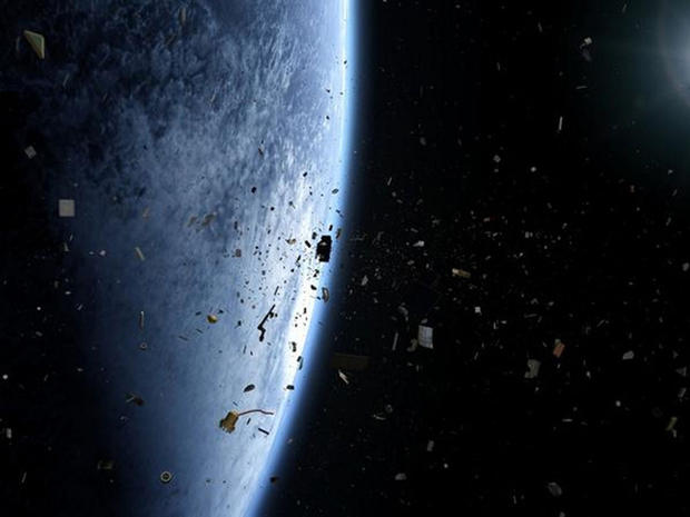 Space debris: Space can be sprinkled with jagged junk resulting from satellite collisions.