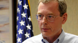 David Rainey, BP's vice president for Gulf of Mexico production, speaks to the media in New Orleans April 22, 2010.