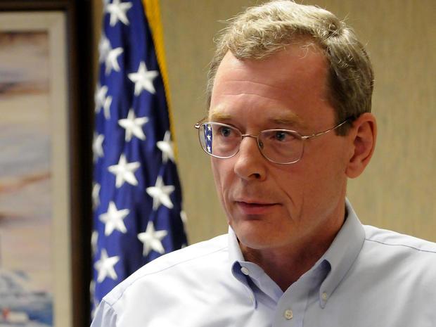 英国石油公司负责墨西哥湾生产的副总裁David Rainey于2010年4月22日在新奥尔良向媒体发表讲话。
