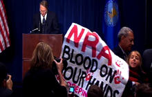 Protesters disrupt NRA press conference
