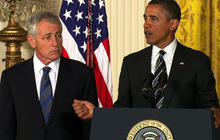 """Obama: """"Chuck Hagel is the leader that our troops deserve"""""""