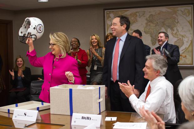 Hillary Clinton back at work
