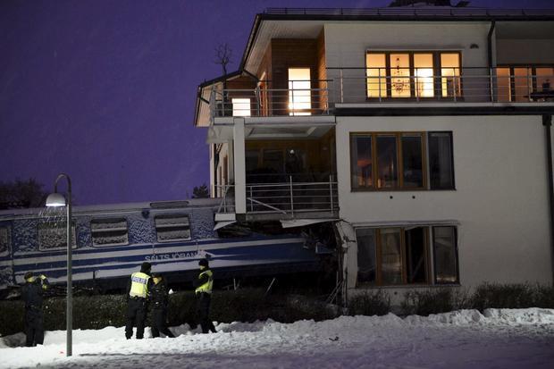 Stolen train crashes into homes in Sweden