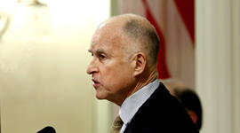 Gov. Jerry Brown gives his State of the State address at the Capitol in Sacramento, Calif., Thursday, Jan. 23, 2013.