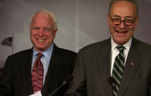 "Schumer praises McCain as ""the glue"" in bipartisan immigration push"