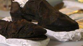 These shoes were found when the turret of the USS Monitor from the Civil War were recovered in 2002 from the waters.