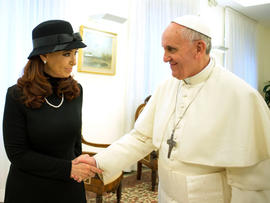 Pope Francis meets Argentine President Cristina Fernandez at the Vatican on March 18, 2013.