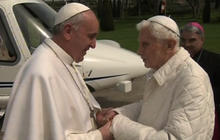 Pope Francis meets with Benedict XVI