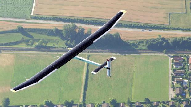 Solar Impulse flies on July 8, 2010, over Payerne, Switzerland