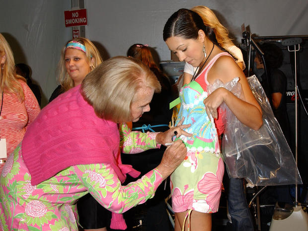 Designer Lilly Pulitzer backstage during the Lilly Pulitzer Spring 2005 Collection during Olympus Fashionweek Spring Fashion 2005, held at Bryant Park, Sunday, September 12, 2004 in New York.
