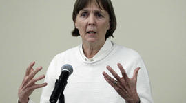 """April 26, 2013 file photo, Judy Clarke, a defense lawyer whose high-profile clients include """"Unabomber"""" Ted Kaczynski, Olympic bomber Eric Rudolph, and Tucson shooter Jared Lee Loughner, speaks at Loyola Law School in Los Angeles. Clarke was appointed Monday, April 29, 2013 to the team representing Dzhokhar Tsarnaev, the suspect in the Boston Marathon bombings"""