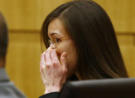 Jodi Arias reacts after she was found of guilty of first-degree murder in the gruesome killing of her one-time boyfriend, Travis Alexander