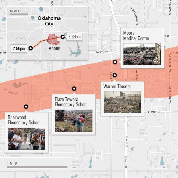 Map of Oklahoma tornado with pictures