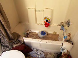Jamie Falwell had sought shelter from the tornado with her son in their bathtub.