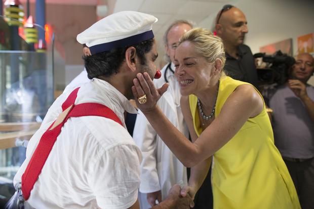 Sharon Stone visits Jerusalem children's hospital