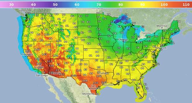美国国家气象局提供的图形预报显示,2013年6月29日美国各地预计出现高温。