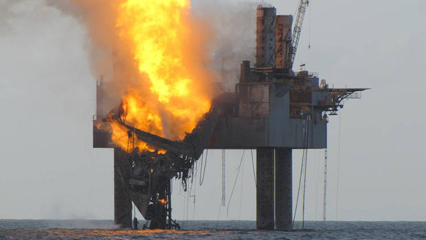 Abatement efforts underway near Hercules 265 Rig where fire has caused collapse of the drill floor and derrick following an explosion Tuesday night.