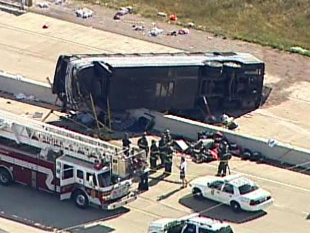 A bus is seen on an Indianapolis thoroughfare after a deadly crash July 27, 2013, in this aerial shot from CBS Indianapolis affiliate WISH-TV.