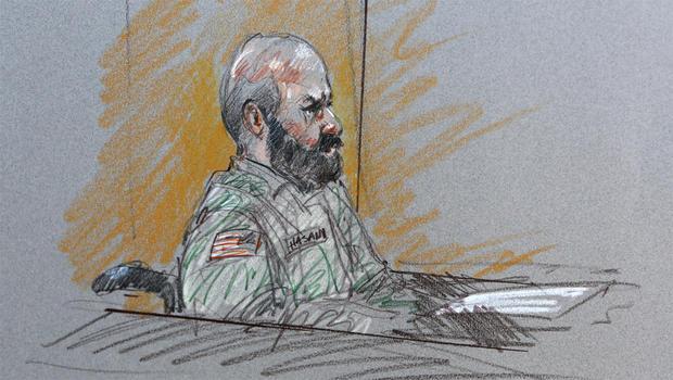 2013年8月6日星期二,在德克萨斯州福斯胡德举行的军事法庭上,这个法庭室草图显示了Nidal Malik Hasan少校。 Hasan代表自己反对2009年袭击事件的谋杀罪和谋杀未遂指控,导致Forth Hood死亡13人。