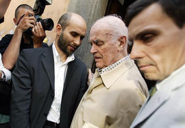 Former Nazi officer Erich Priebke, center, is shown in a photo from 2007.