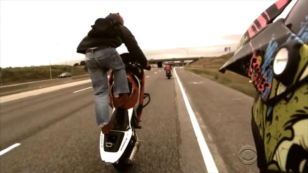 When bikers perform stunts like this, it can endanger other motorists as well as themselves, police say.