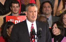 Bill de Blasio speaks to supporters after being elected mayor of NYC