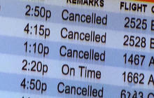Airport customer care representative calms travelers amid winter storm